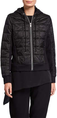 Max Mara Leisure Zip-Front Quilted Hoodie Jacket with Ponte Side Inset