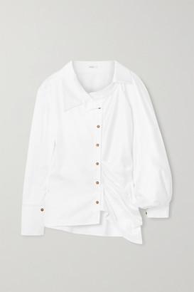 AAIZÉL Ruched Cotton-blend Poplin Shirt - White