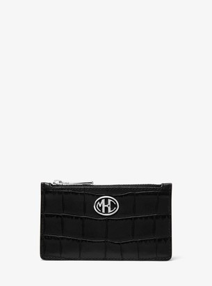 Monogramme Small Crocodile-Embossed Leather Card Case