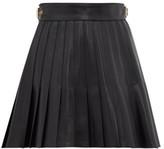 Gucci Pleated Leather Mini Skirt - Womens - Black