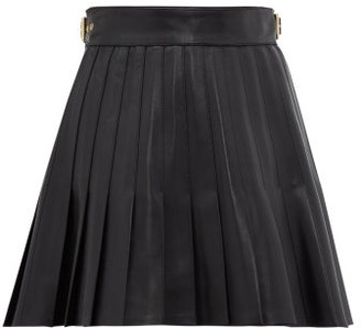 Gucci Pleated Leather Mini Skirt - Womens - Black