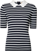 Michael Kors Breton stripe collar top - women - Polyester/Viscose - L