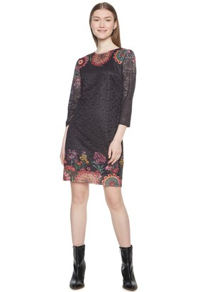 Desigual Lace Short Dress with 3/4 Length Sleeves