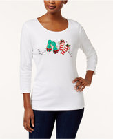 Karen Scott Cotton Holiday Flip-Flop-Print T-Shirt, Created for Macy's