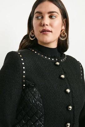 Karen Millen Curve Boucle Quilted Studded Trophy Jacket