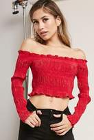 Forever 21 Off-the-Shoulder Pleated Top