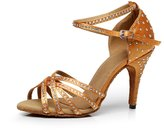 TDA QJ7028 Women's Peep Toe Crystals Rhinestone Glitter Fashion Satin Latin Dance Shoes