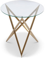 Crest End Table Brushed Gold, Quick Ship