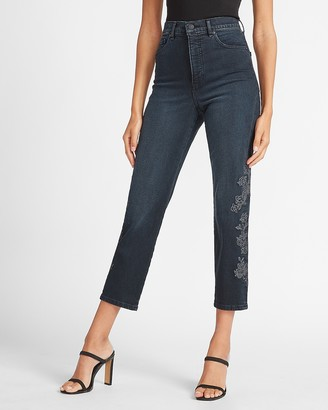 Express Super High Waisted Metallic Embroidered Mom Jeans