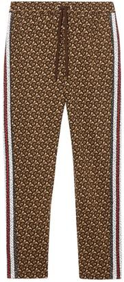Burberry Monogram Stripe Print Cotton Trackpants