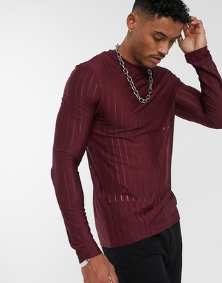 Asos Design DESIGN skinny long sleeve t-shirt in sheer stripe in burgundy-Red