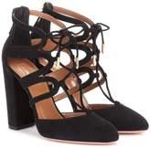 Aquazzura Holli 105 cut-out suede ankle boots