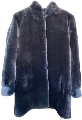Saint Laurent Grey Shearling Coat for Women Vintage