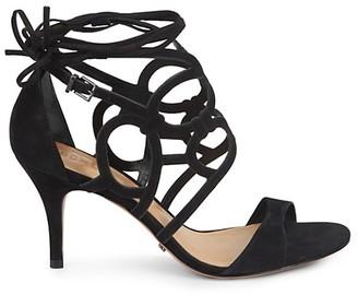 Schutz Gloriosa Cutout Suede Heel Sandals