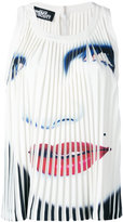 Jeremy Scott face print pleated tank
