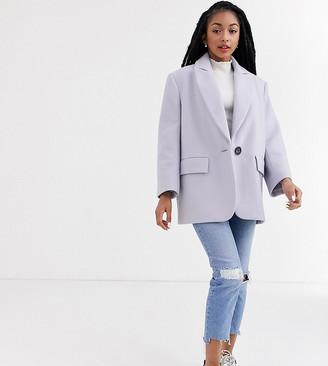 ASOS DESIGN Petite grandad coat in lilac