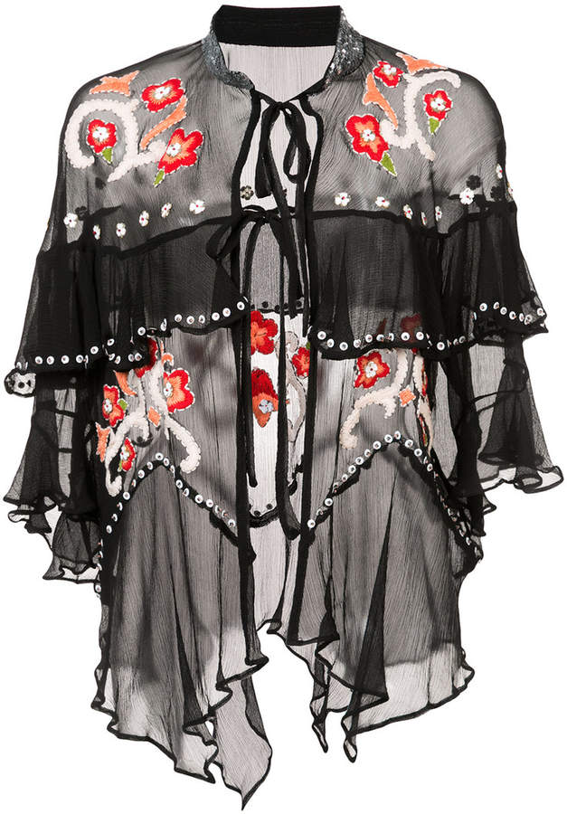 Anna Sui Poppies embroidered chiffon jacket