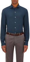 Barneys New York Men's Cotton Flannel Shirt-BLUE, WHITE