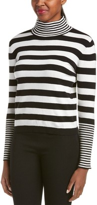Joan Vass Women's Knit Striped Turtleneck