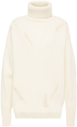 MICHAEL Michael Kors Open Knit-trimmed Wool And Alpaca-blend Turtleneck Sweater