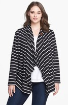 Bobeau Plus Size Women's Stripe Fleece Wrap