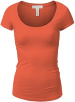 Active Products Active Basic Womens Plain Basic Deep Scoop Neck T-Shirt with Cap Sleeves