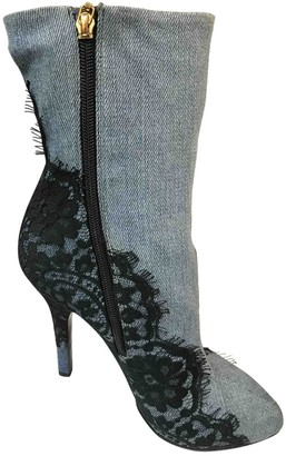 Dolce & Gabbana Blue Polyester Boots