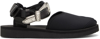 Toga Black Suicoke Edition Leather Tabi-SP Sandals