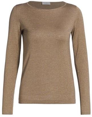 Brunello Cucinelli Cashmere & Silk Lurex Boatneck Sweater