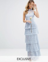Body Frock Bodyfrock Pleated Lace Maxi Dress with Tiers