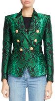Balmain Classic Double-Breasted Python-Print Blazer, Green/Black