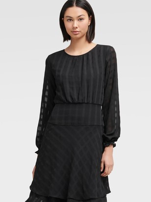 DKNY Long Sleeve Fit-and-flare Dress With Double Layer Skirt