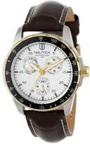 "Nautica Men's N11502G ""Windseeker"" Stainless Steel Watch with Brown Leather Band"
