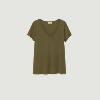 American Vintage Khaki Cotton and Viscose Jacksonville V-neck T-shirt - cotton | khaki | small - Khaki