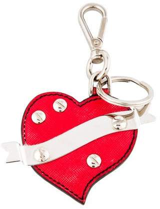 Prada Leather Heart Keychain
