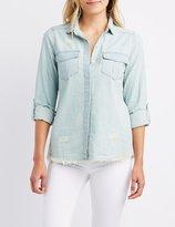 Charlotte Russe Frayed Chambray Button-Up Shirt