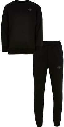 River Island Boys black sweat and jogger set