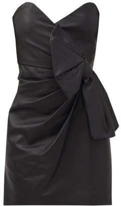 RED Valentino Sweetheart-neckline Leather Mini Dress - Black