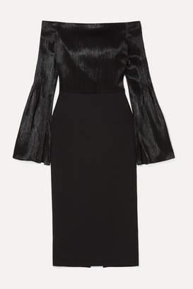 Roland Mouret Anina Off-the-shoulder Stretch-crepe And Silk-blend Lame Dress - Black