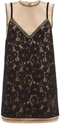No.21 No. 21 - Lace-overlay Crystal-embellished Mini Dress - Black Beige