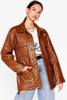 Nasty Gal Womens Callin' It Quilts Faux Leather Belted Jacket - Khaki