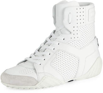 Christian Dior D Fence Perforated High-Top Sneakers, White