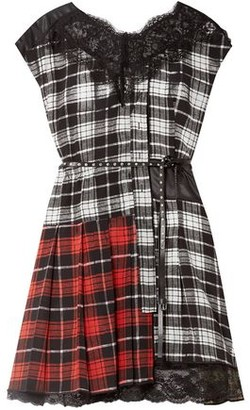 Marc Jacobs Lace-trimmed Patchwork Shell And Checked Silk Crepe De Chine Mini Dress