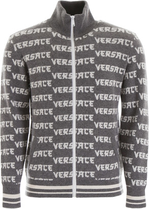Versace Monogram Zipped Cardigan