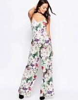 Motel Fleur Wilma Jumpsuit In Botanical Print