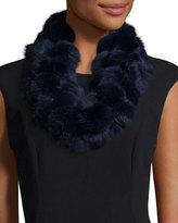 Adrienne Landau Rabbit Fur Pompom Infinity Scarf, Navy Blue