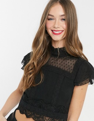 Hope & Ivy lace insert victorian top in black