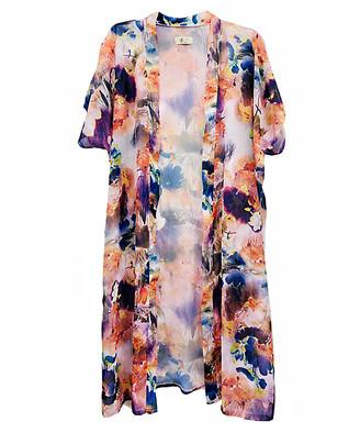 Jc Sunny JC Sunny Women's Kimono Cardigans - Orange & Blue Floral Kimono - Women