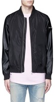 Topman Faux leather sleeve bomber jacket