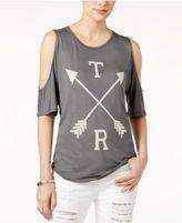 True Religion Cotton Cold-Shoulder Graphic Top
